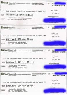 copies of 4 checks to nonprofits-small file